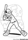 Kleurplaat baseball slagman