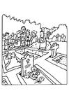 Kleurplaat begrafenis