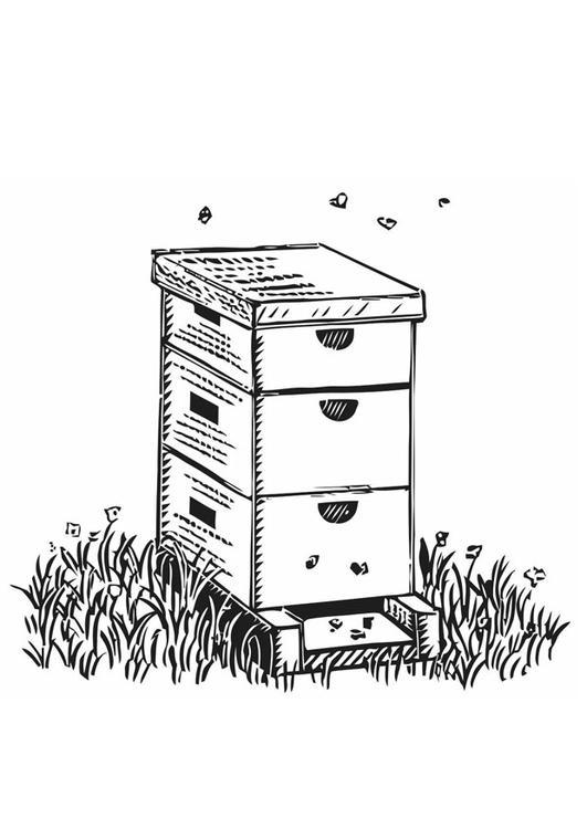 kleurplaat bijenkorf afb 19396