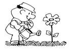 Kleurplaat bloem water geven