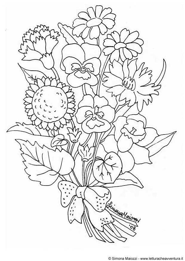 kleurplaat bloemen afb 21333