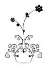 Kleurplaat bloemen in vaas