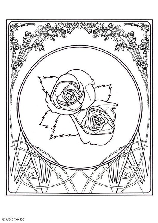 Kleurplaat rozen afb 13830 for Colorare le rose
