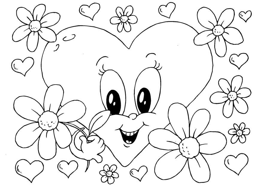 Kleurplaten Van Mooie Bloemen.Kleurplaat Valentijnsdag