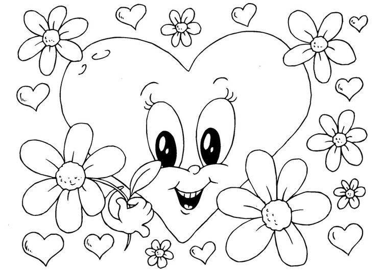 Kleurplaten Bloemen En Hartjes.Kleurplaat Bloemen Valentijn Afb 24614 Images