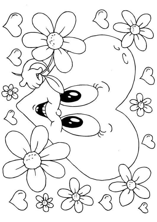 Kleurplaat Bloemen Valentijn Afb 24614