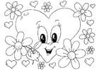 Kleurplaat bloemen Valentijn
