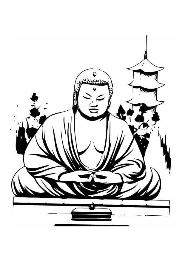 Kleurplaat Boeddha Afb 11014