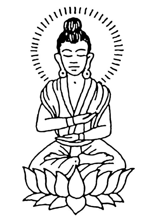 kleurplaat boeddha - afb 11444. images