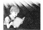 Kleurplaat boek lezen