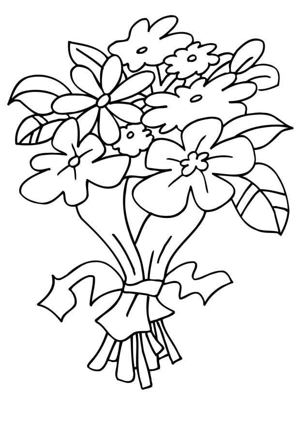 Kleurplaten Van Een Bos Bloemen.Kleurplaat Bloemen Boeket Kleurplaat Boeket Afb 6483 Kleurplatenl Com