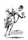 Kleurplaat bokkend paard