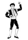 Kleurplaat bolero danser met castagnettes