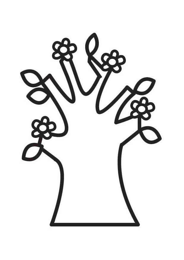 kleurplaat boom lente met bloesems gratis kleurplaten om