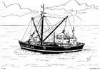 Kleurplaat boot - vissersboot