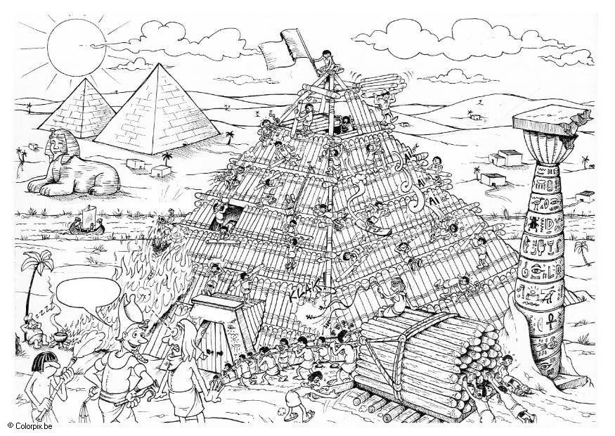 Kleurplaat bouwen van de piramide afb 5515 for Mappa della costruzione di casa