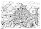 Kleurplaat Bouwen van de piramide