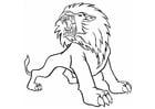 Kleurplaat boze leeuw