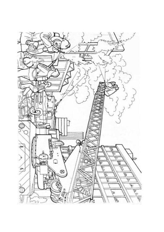 Ladder Kleurplaten Kleurplaat Brand Blussen Afb 12686