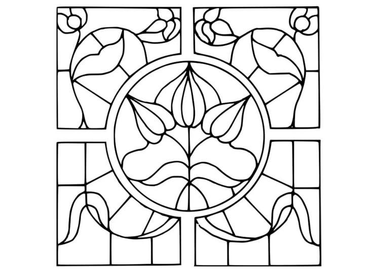 Kleurplaten Beterschap Bloemen.Kleurplaat Brandglas Motief Bloemen Gratis Kleurplaten Om