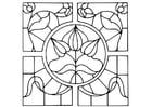 Kleurplaat brandglas motief bloemen