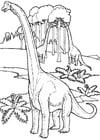 Kleurplaat brontosaurussen