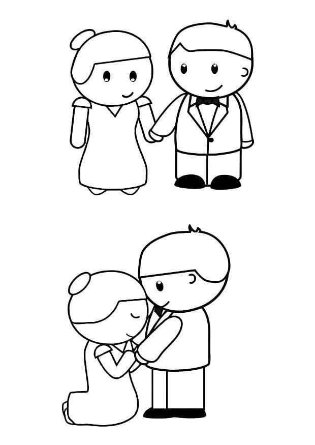 kleurplaat bruid en bruidegom gratis kleurplaten om te