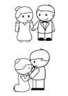 Kleurplaat bruid en bruidegom