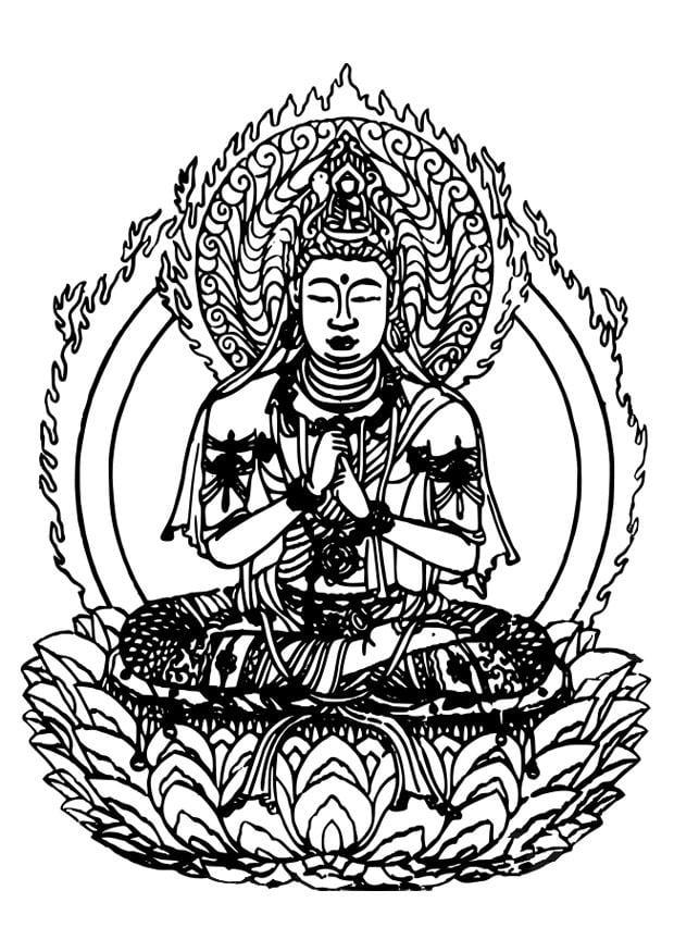kleurplaat buddha afb 27309. Black Bedroom Furniture Sets. Home Design Ideas