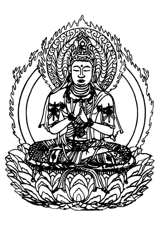 kleurplaat buddha afb 27309