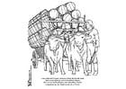 Kleurplaat buffels met kar