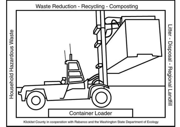 kleurplaat bulldozer afvalverwerking gratis kleurplaten