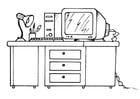 Kleurplaat bureau met computer