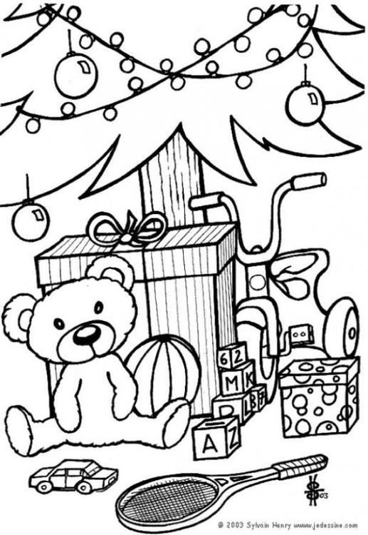 Kleurplaat Cadeautjes Onder De Kerstboom Afb 6433