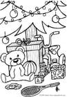 Kleurplaat cadeautjes onder de kerstboom