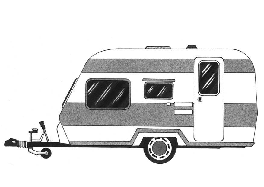 Kleurplaat Caravan Afb 9387