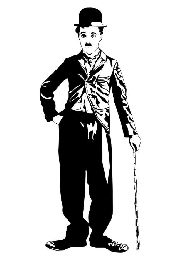 Televisie Kleurplaat Kleurplaat Charlie Chaplin Gratis Kleurplaten Om Te Printen