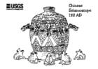 Kleurplaat Chinese seismoscoop 132 AD