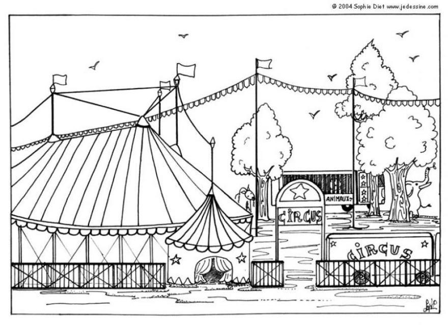 Circus olifant Kleurplaat
