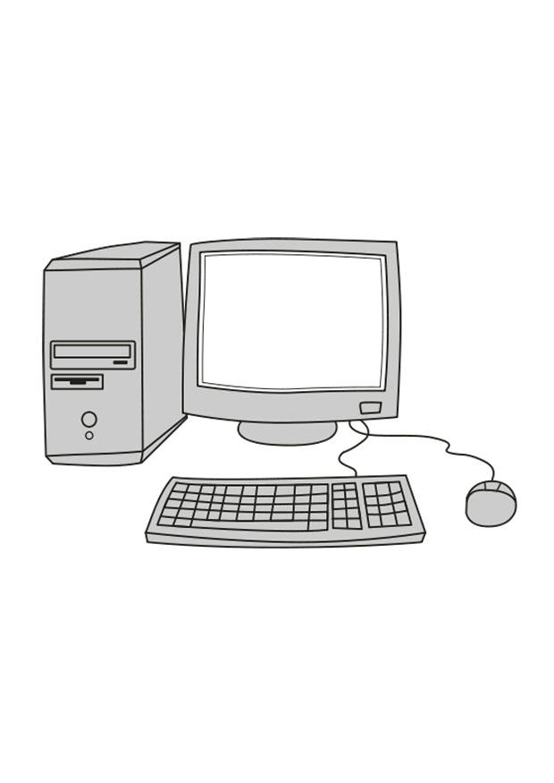 Kleurplaat Computer Afb 25546