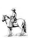Kleurplaat cowboy op paard