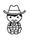 Kleurplaat cowboy