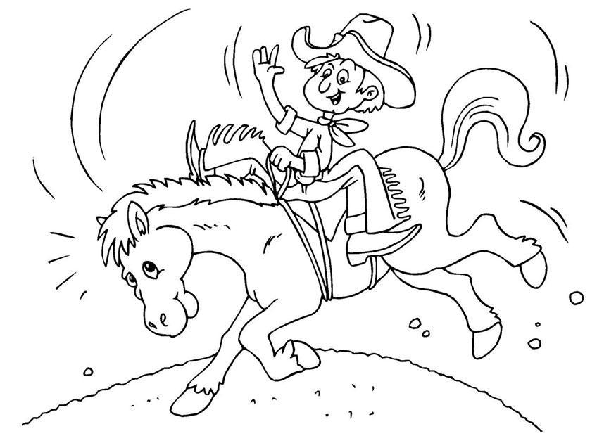 Kleurplaat Cowboy Te Paard Afb 25972