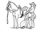 Kleurplaat cowboy zadelt paard