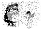 Kleurplaat Cupido en de oude vrouw