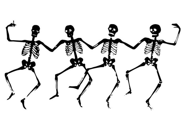 The Line Art And Living : Kleurplaat dansende skeletten afb