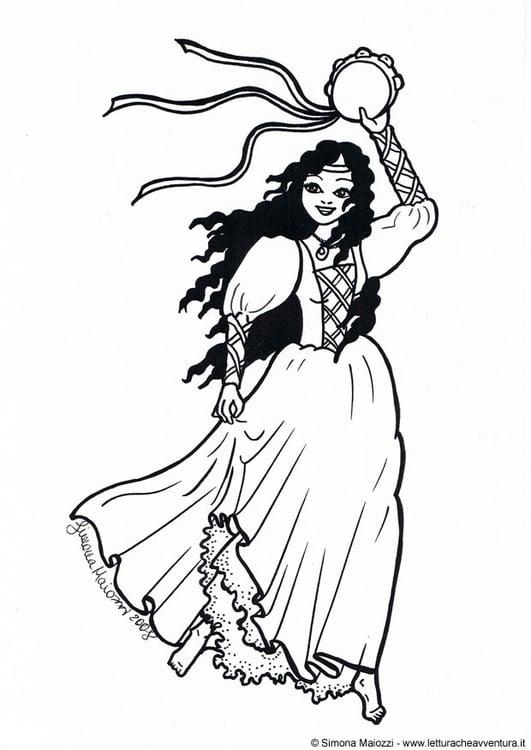 Kleurplaat Danseres Afb 19009