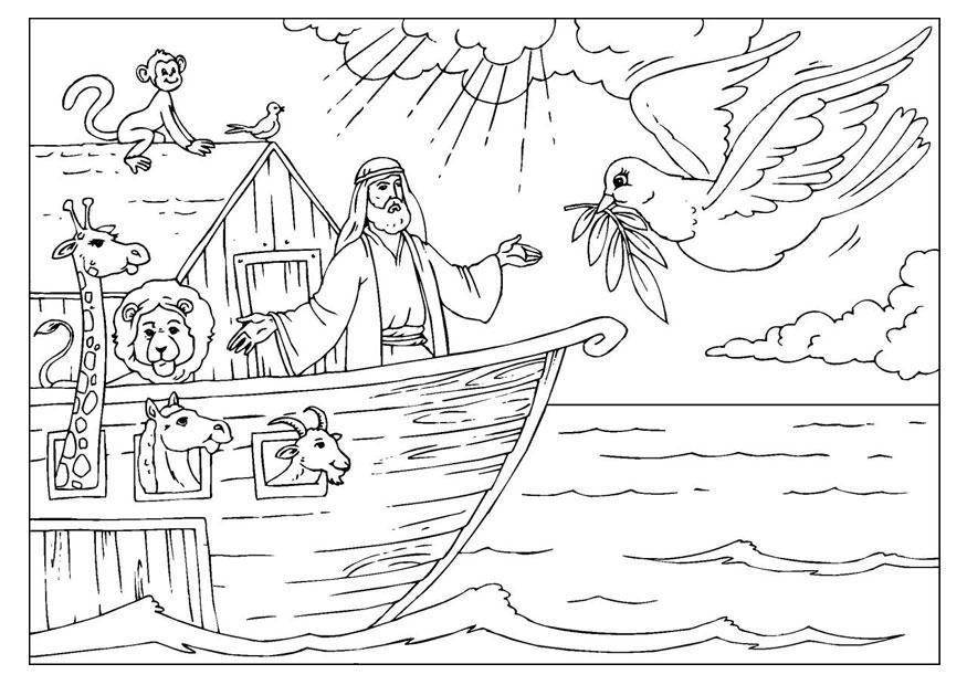 Kleurplaat de Ark van Noah - Afb 25955.
