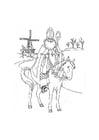 Kleurplaat De Sint op zijn paard