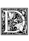 Kleurplaat decoratief alfabet - D